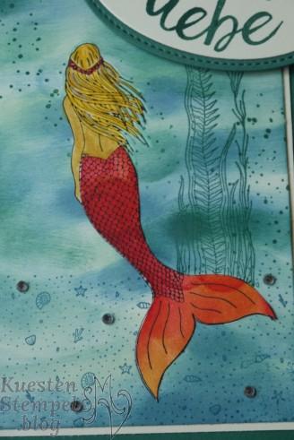Colorierte Meerjungfrau mit Paper Piecing