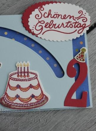 Kullerkarte, Nostalgischer Geburtstag, Geburtstagskreation, Stampin' Up, Große Zahlen, Kuestenstempel.blog