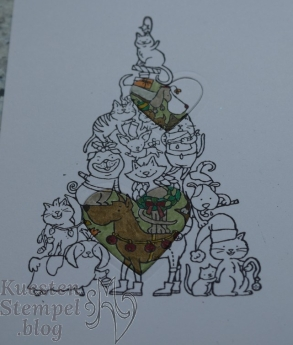 Spotlighting Technique, Santa Paws, Weihnachtskarte, Von Herz zu Herz, Stampin' Up, Kuestenstempel.blog
