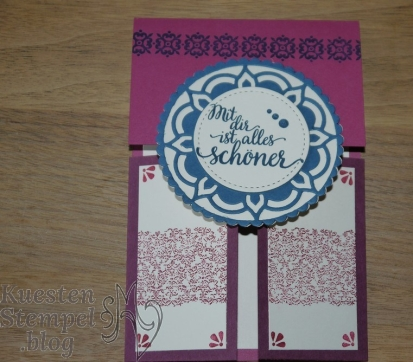 (Double) Dutch Fold Card, Kartentechnikbuch Nr. 2, Schönheit des Orients, Thinlits Formen Orient-Medaillons, Lagenweise Kreise, Stickmuster, Background Bits, Stampin' Up, Kuestenstempel.blog