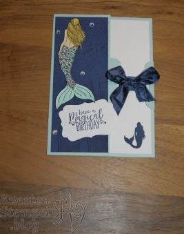 Tag Topper Side Fold Card, Magical Mermaid, Dekoratives Etikett, Gewellter Anhänger, Kartentechnikbuch 1, Stampin' Up, Kuestenstempel.blog