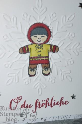 Ausgestochen weihnachtlich, Prägeform Schneekristall, Fröhliche Weihnachten, Elementenstanze Lebkuchenmännchen, Stampin' Blends, Stampin' Up, Kuestenstempel.blog