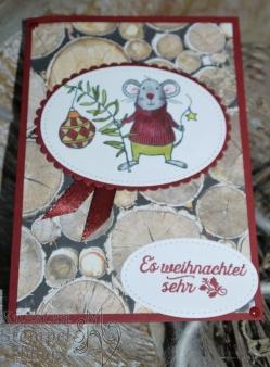 Festtagsmäuse, Stampin' Blends, Fröhliche Weihnachten,Stickmuster,Lagenweise Ovale, Designerpapier Holzdekor, Stampin' Up, Kuestenstempel.blog