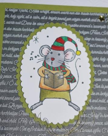 Festtagsmäuse, Stampin' Blends, Lagenweise Ovale, Designerpapier Weihnachtslieder, Stampin' Up, Kuestenstempel.blog