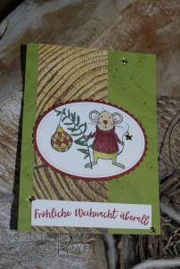 Festtagsmäuse, Stampin' Blends, Weihnachten daheim, Lagenweise Ovale, Stickmuster, Weihnachtsstern, Designerpapier Holzdekor, Stampin' Up, Kuestenstempel.blog