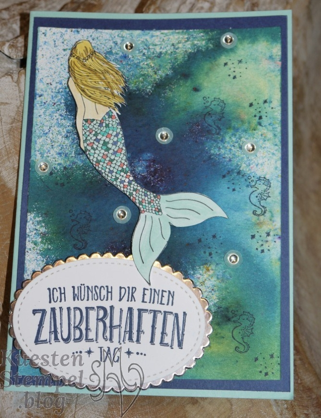 Brusho Crystal Colour, Stampin' Spritzer, Magical Mermaid, Zauberhafter Tag, Stampin' Up, Kuestenstempel.blog