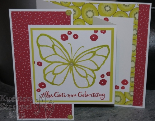 Double Joy Z Fold Card, Wunderbarer Tag, Tuttifrutti, Wink of Stella Pinselstift, Stampin' Up, Kuestenstempel.blog