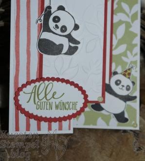 Party-Pandas, Double Z Joy Fold Card, Blätter Relief, Designerpapier Allerliebst, Obstgarten, Perfekter Geburtstag, Framelits Lagenweise Ovale, Tuttifrutti, Stampin' Up, Kuestenstempel.blog