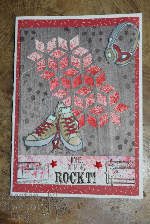 Echt Cool, Brusho Crystal Color, Stampin' Blends, Stampin Write Marker, Thinlits Kreative Vielfalt, Tuttifrutti, Sheet Musik, Stampin' Up, Kuestenstempel.blog