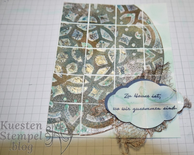 Faux tile Technique with decorative Masks, Fliesentechnik mit Dekoschablonen, Zier-Etikett, Embossing, Mustermix, Bunt gemischt, Landhaus-Idylle, Timeless Textures, Grußgezwitscher, Graceful Garden, Stampin' Up, Kuestenstempel.blog