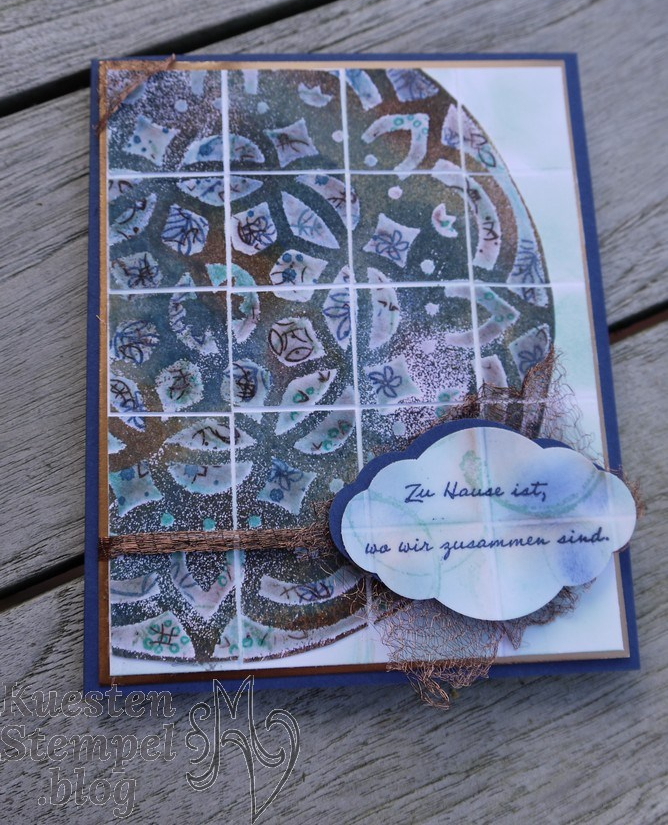 Faux tile Technique with decorative Masks, Fliesentechnik mit Dekoschablonen, Zier-Etikett, Embossing, Mustermix, Bunt gemischt, Landhaus-Idylle, Timeless Textures, Grußgezwitscher, Graceful Garden, Stampin' Up, Kuestenstempel.blog