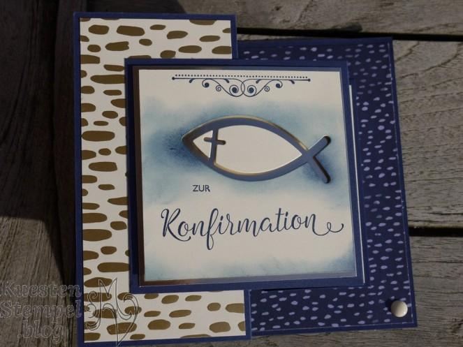 Segensfeste, Designerpapier Babyglück, Designerpapier bunte Vielfalt, Wappen, Metallic-Folie Champagner, Rayher Stanzschablone Fishes, Stampin`' Up, Kuestenstempel.blog