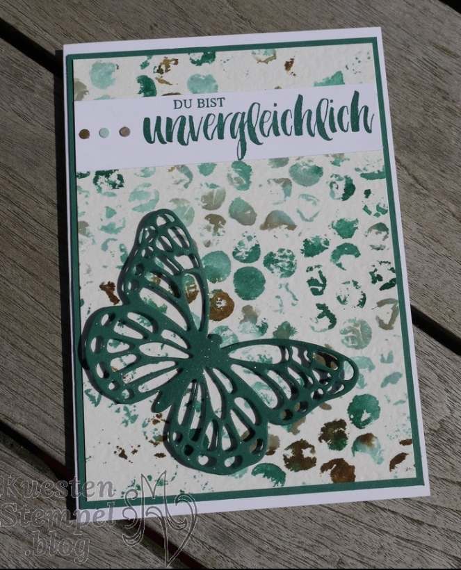 Kraft der Natur, Luftpolsterfolie Technik,Thinlits Schmetterlinge, In-K-Spire_me Challenge, Stampin' Up, Kuestenstempel.blog