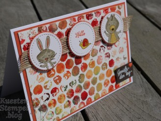 Luftpolsterfolie Technik, Brusho Crystal Colour, We must celebrate, Stampin' Write Marker, Schönheit des Orients, Blüten des Augenblicks,Embossing, Framelits Stickmuster, Stampin' Up, Kuestenstempel.blog
