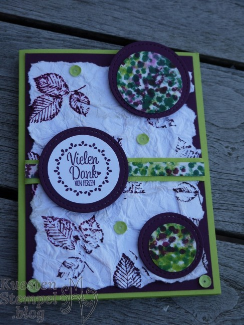 Quartett fürs Etikett, Stickmuster, Q-Tipp Technique, Faux Leather Technique, Kraft der Natur, Stampin' Up, Kuestenstempel.blog