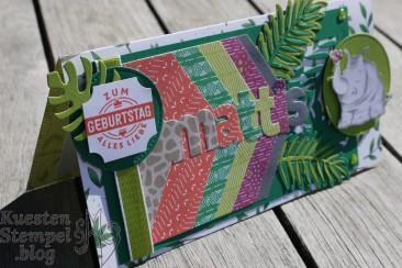 Jetzt wird's wild, Edgelits Lagenweise Buchstaben, Thinlits Palmengarten, Stickmuster, Stanz-Box Exquisite Etiketten, Stampin' Up, Kuestenstempel.blog