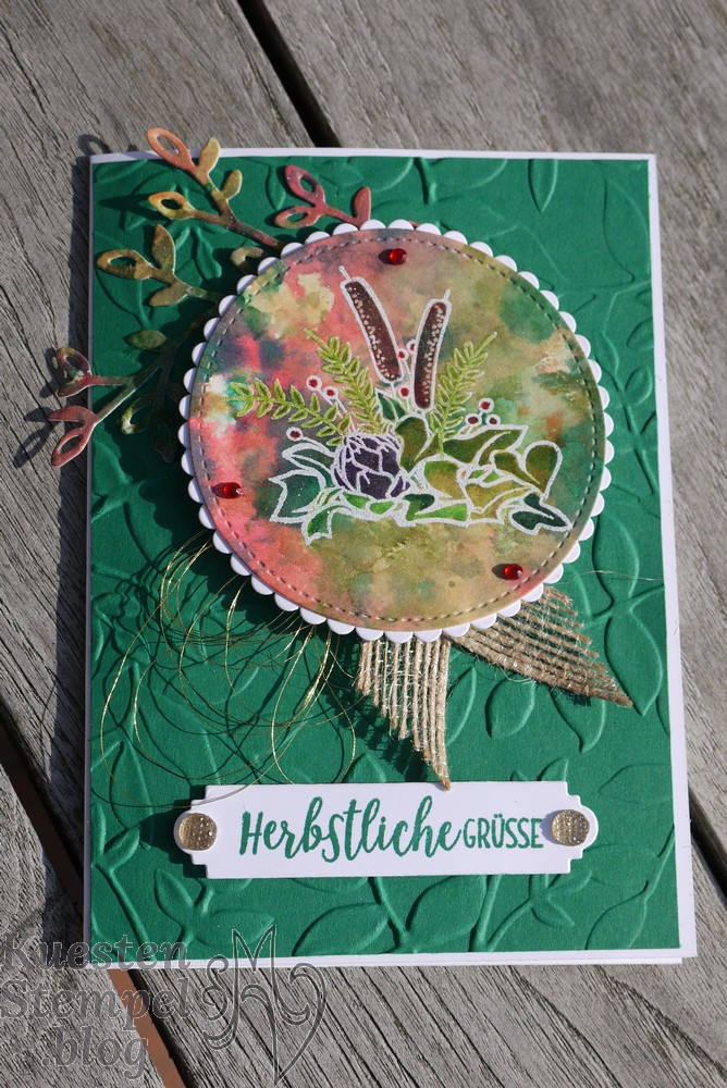 Landleben, Ink Smooshing Technique, Stickmuster, Lagenweise Kreise, Blätter-Relief, Blüten Blätter & Co, Stampin' Up, Kuestenstempel.blog
