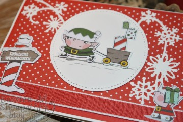Weihnachtswerkstatt, Weg zum Weihnachtsmann, Thinlits Schneegestöber, Dekobordüre, Etikett nach Maß, Tannenzauber, Stampin' Up, Kuestenstempel.blog