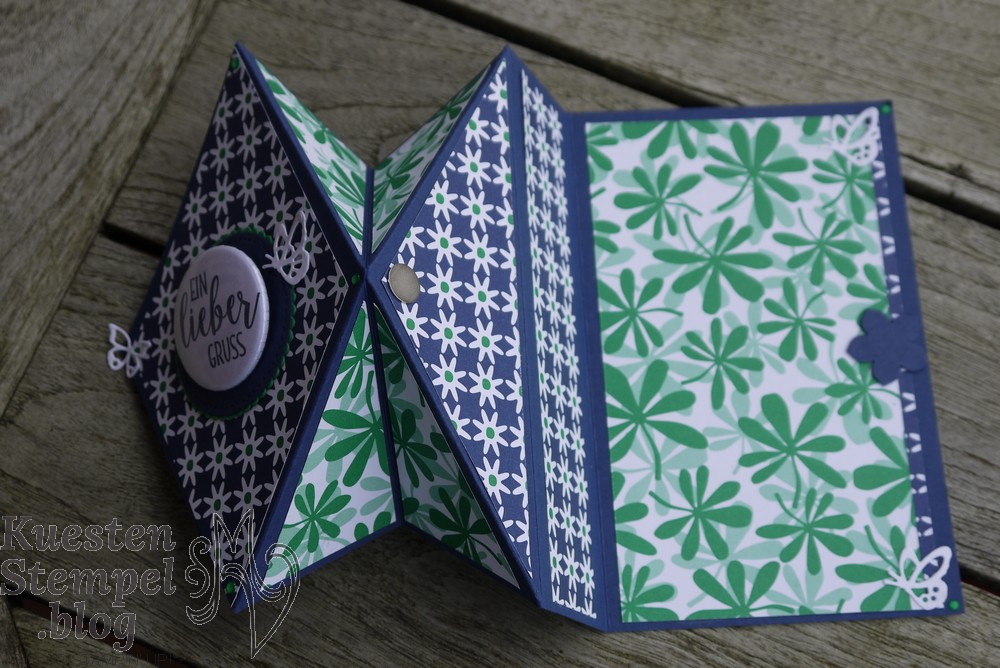 Diamond Fold Card, Blütenfeuerwerk, Schöne Schmetterlinge, Button, Lagenweise Kreise, Stickmuster, Landleben, Stampin' Up, Kuestenstempel.blog