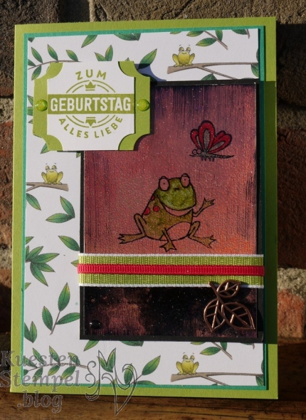 Technik Blog Hop, Black Ice Technique, Embossing, Werkstattworte, Sale a Bration, Froschkönig, Geburtstagsmix, Stanz-Box Exquisite Etiketten, Stampin' Blends, Kreisstanzen, Anleitungen, Stampin' Up, Kuestenstempel.blog