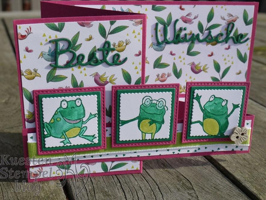 Froschkönig, Geburtstagsmix, Stickmuster, Lagenweise Quadrate, Colorieren, Z-Fold-Card, Jetzt wirds wild, Framelits Schön geschrieben, Stampin' Up, Kuestenstempel.blog
