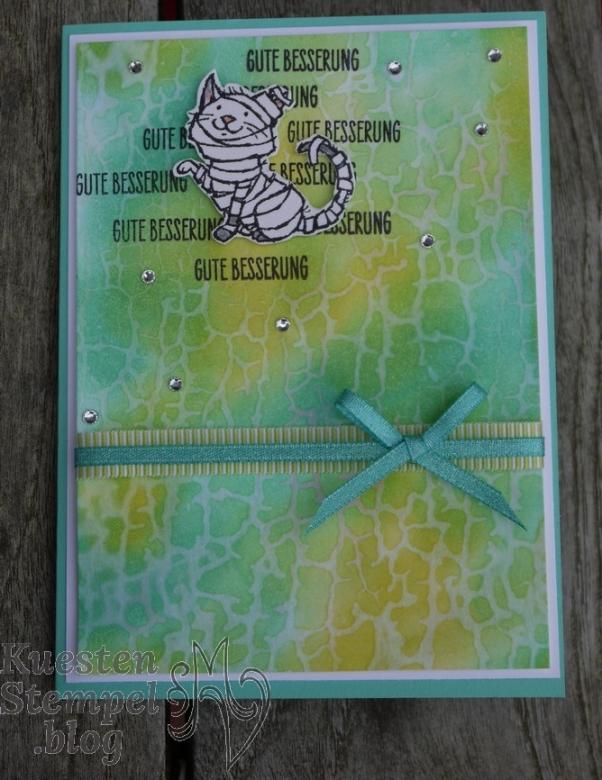 P1370262Waterstamping, Crackle Paint, Glasklare Grüße, Trick or Tweet, Gute Besserung, Stampin' Up, Kuestenstempel.blog