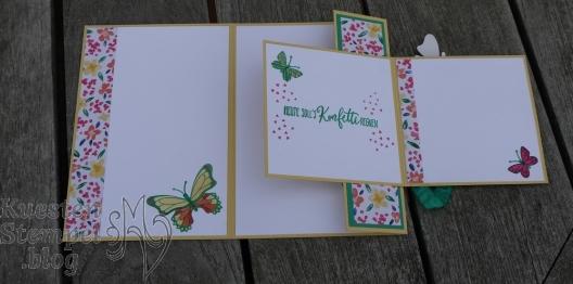 Double Flap Fold Card, Voller Schönheit, Schmetterlingsglück, Stickmuster, Garten-Impressionen, Perfekter Geburtstag, Handstanze Sonne, Stampin' Up, Kuestenstempel.blog