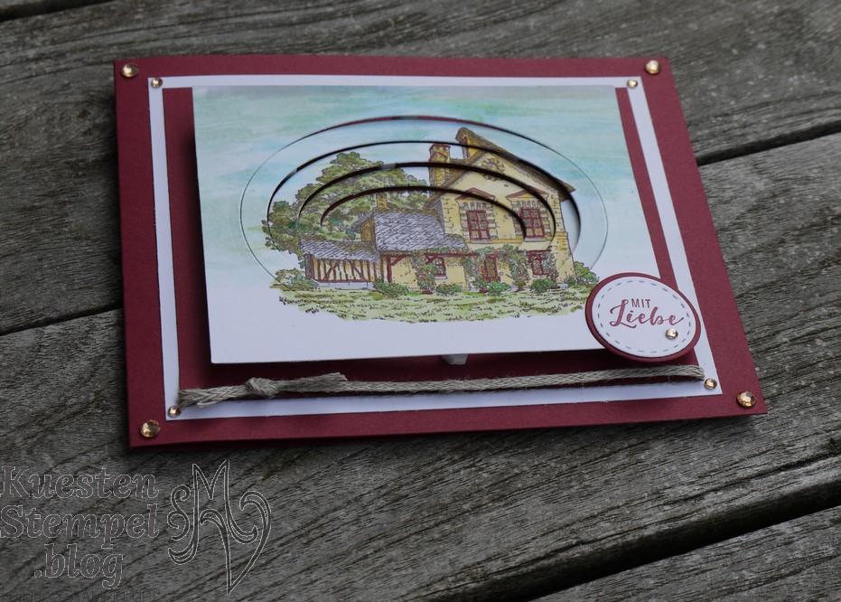 Telescoping Card, Blog Hop, Klitzekleine Grüße, Bestickte Etiketten, Lagenweise Ovale, Lagenweise Kreise, Stampin' Blends, French Countryside, Kuestenstempel.blog, Stampin' Up!