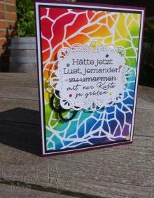 Sonnenschein verbreiten, # Share sunshine, Blog Hop, Schablonen, Regenbogen, Stickmuster, Bestickte Etiketten, Stampin' Up, Covid-19, Hoffnung, Kuestenstempel.blog