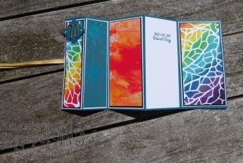 Fanfare Fold Card, Schablonentechnik, Anleitung, Fingerschwämmchen, Liebe Gedanken, Stickmuster, Stampin' Up, Kuestenstempel.blog