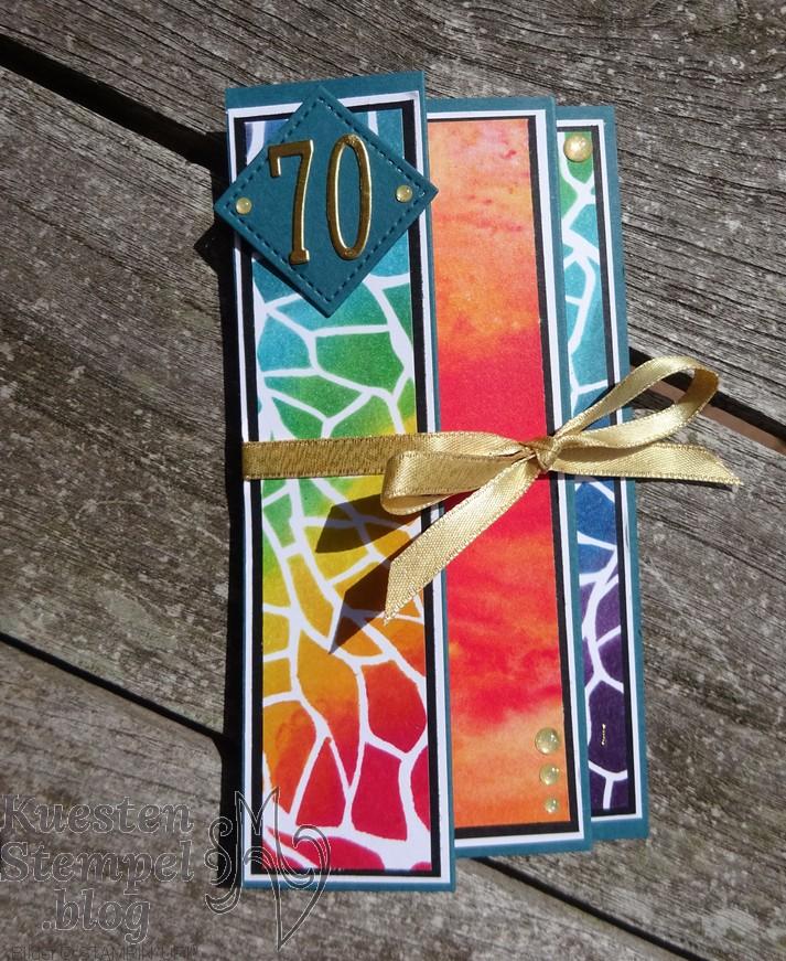 Fancy Fold, Fanfare Fold Card, Schablonentechnik, Anleitung, Fingerschwämmchen, Liebe Gedanken, Stickmuster, Stampin' Up, Kuestenstempel.blog