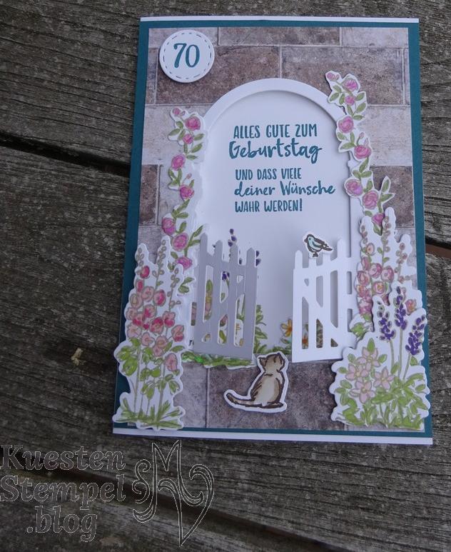 Geheimnisvoller Garten, Gartentor, Colorieren, Stickmuster, Liebe Gedanken, Aus der Kreativwerkstatt, Geburtstag, Stampin' Up, Kuestenstempel.blog